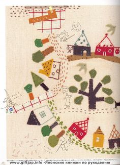 More houses - very cute Japanese Embroidery - Cafe Sister 2006 - sanekp - Picasa Web Albums Embroidery Map, Japanese Embroidery, Hand Embroidery Patterns, Vintage Embroidery, Embroidery Applique, Embroidery Designs, Embroidery Scissors, Modern Embroidery, Map Quilt