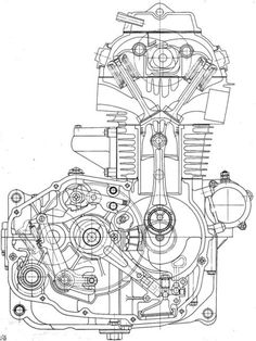 Two valve engine. Honda Bikes, Honda Motorcycles, Honda Cb, Vintage Motorcycles, Custom Motorcycles, Custom Bikes, Cars And Motorcycles, Bike Drawing, Cad Drawing