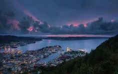 Beautiful evening light over Bergen in Fjord Norway
