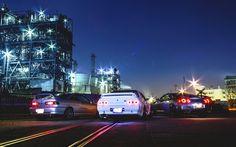 Scarica sfondi Acura Integra, Nissan Skyline R32, la Nissan GT-R, tuning, auto giapponesi, notte, Nissan, Acura