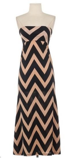 Strapless Chevy to the Levy Maxi Dress ~ SoCo Vintage