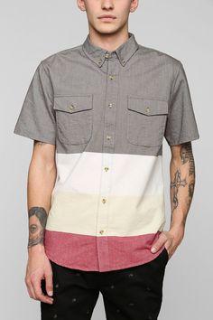 BLVCK SCVLE Colorblock Button-Down Shirt