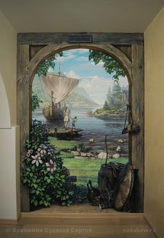 Landscape with a boat. Hand-painted custom mural at a private residence. Painted in a traditional realistic style. #custommural