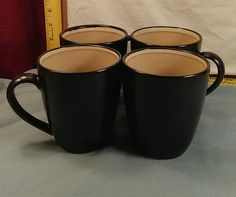 "Sango Encore 4910 Black Out, Tan In, Cream Band Coffee/Tea 4"" Mugs Set of 4  #SANGO"