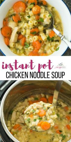 This Creamy Instant Pot Chicken Noodle Soup Recipe is a healthy dinner recipe that's easy enough for any day of the week! It's made in the pressure cooker which means BIG flavour and quick cooking. Loaded with vegetables and easily made dairy free or vegetarian. Includes step by step recipe video.  #instantpot #pressurecooker #chicken #soup #recipe #dinner #healthy