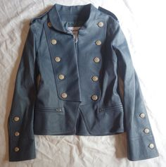 ~AUTHENTIC CHANEL BLUE GRAY LEATHER MILITARY JACKET (AN EDITORIAL FAVORITE!) 38 #CHANEL #JACKET
