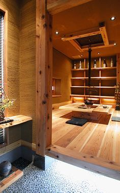 リビング (Japanese style) Modern design Modern Japanese Interior, Japanese Modern House, Japanese Interior Design, Japanese Home Decor, Modern Design, Japanese Architecture, Interior Architecture, Irori, Tatami Room