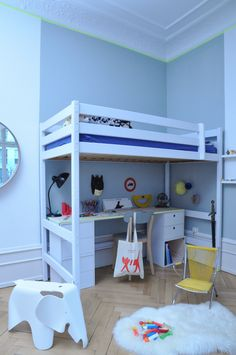 Kid's room with mezzanine bed | Light Grey wall + neon washi tape