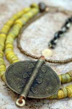 Ethnic Yellow Turkish Hebron Bead and African...