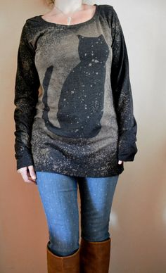 Black Cat Shirt, Long Sleeve Shirt, Galaxy Cat Shirt, Midnight Cat, Long Shirt Women, Bleached Shirt,  Size LARGE