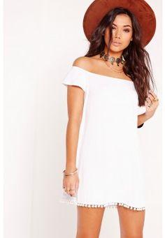 Bardot Pom Pom Hem Swing Dress White