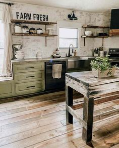 Weve been keeping a little secret.we have the kitchen a big facelift! We originally bought this green paint to. Green Kitchen Cabinets, Upper Cabinets, Kitchen Shelves, Upcycled Kitchen Cabinets, Open Shelves, Open Kitchen, Rustic Kitchen, Kitchen Ideas, Country Kitchen