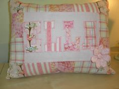 Shabby chic, quilted & appliqued custom name pillow. $32.00, via Etsy.
