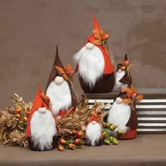 Woodland Gnome with Acorn Accent for fall decor. Assorted with brown or orange hat. Christmas Wreaths, Christmas Crafts, Christmas Ornaments, Rustic Halloween, Scandinavian Gnomes, Elves And Fairies, Forest Creatures, Mermaid Dolls, Paper Crafts