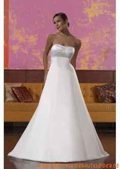 Schlichtes Brautkleid aus Satin A-Linie mit Kristall