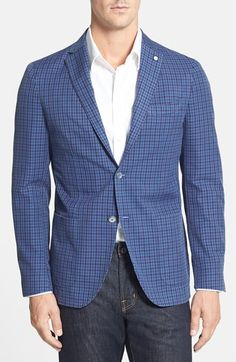 Jack Trim Fit Check Blazer: Summer is the time for fun sport coats and this Lubiam contemporary fit blue check cotton and linen blazer is nothing but fun (well, great quality and fun).