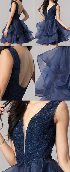 Short Elegant Deep V-neck Open U Back Royal Blue Lace Appliques Beads – AlineBridal