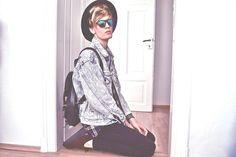 Izod Sunglasses, Thrift Store Flannel Shirt, Levi's Denim Jacket, Asos Backpack, Underground Creepers