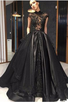 Black Lace Formal Celebrity Evening Dresses High Neck See Through Red Carpet Prom Party Gowns With Detachable Skirt