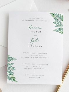 Fern Wedding Invitation Template Green Leaf Wedding Invite #weddinginvitation
