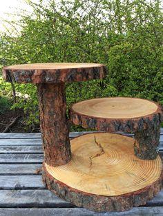 Large Log Pine Wood Rustic Cake 50 Cupcake by TheShindiggityShoppe
