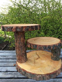 Large Log Pine Wood Rustic Cake 50 Cupcake Collapsible Stand Wedding party…