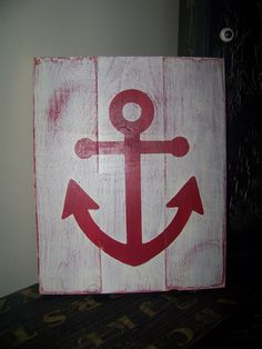Great craft to make using a piece of old wood and a Anchor stencil.