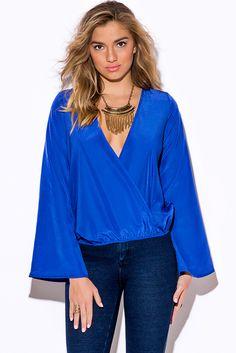 Cute cheap royal blue long sleeve wrap boho blouse party top