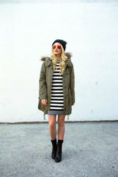 Striped and bundled up.