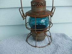 Vintage Rock Island Adlake Kerosene Railroad Lantern Blue Globe   eBay