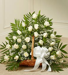 Funeral Flowers by 1800Flowers. com - Sincerest Sympathies Fireside Basket - White. Send a message of sympathy, love and hope with this basket of white roses. Our florists create this special sympathy arrangement in a fireside basket filled with two dozen long stem white roses Accented with Baby's Breath, Monte Casino, and more Usually sent by family members, friends or business associates Delivered directly to the funeral home Our florists choose only the freshest flowers available so varie...