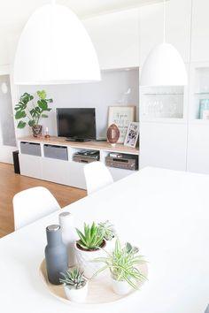Besta im Wohnzimmer und Pflanzen Deko mit Sukkulenten und Monstera