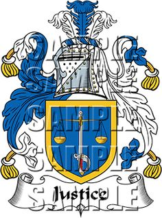 Justice Family Crest apparel, Justice Coat of Arms gifts