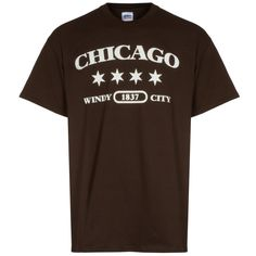 "Chicago Men's Brown ""Chicago Windy City"" Tee #Chicago #ChiTown Chicago Shirts, City, Brown, Mens Tops, T Shirt, Tee Shirt, T Shirts, City Drawing, Chocolates"