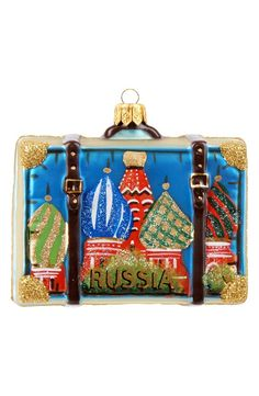 Russia Christmas Ornament-- Suitcase with Russian Red Square On It
