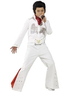 Buy Kids Boys Elvis Presley Licensed Famous Music Rock Fancy Dress Costume at online store Costume Shop, Costume Dress, Disfraz Elvis Presley, Costume Elvis, Fancy Dress Costumes Kids, Bell Bottom Trousers, Childrens Fancy Dress, Memphis, Bell Bottoms