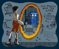 Crossover fan art doctor who portal video games - 7746991872 Crossover, Aperture Science, You Monster, It Goes On, Geek Out, Dr Who, Superwholock, Tardis, Doctor Who