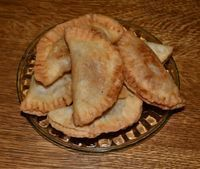 Grandmother's Fried Apple Pies Filling: 1 pkg. dried apples (Peaches or Apricots may be substituted) 1 c. sugar 2 c. water 1/4 c. unsalte...