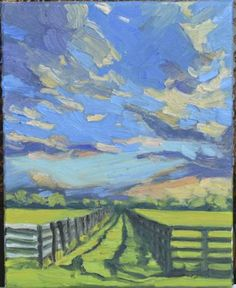 "Sunset Fence - 8""x 10"" plein air oil on canvas by Cindy Friedlander. Loved using the fresh lime green against the many blues and oranges of the late afternoon cloudy sky."