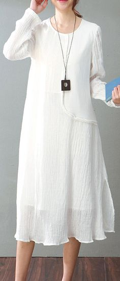 4e7a57b6e91 vintage white cotton linen maxi dress Loose fitting O neck baggy dresses  New long sleeve patchwork dresses