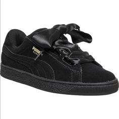 2b0a32da559 Puma Shoes | Puma Suede Heart Satin 2 Sneakers | Color: Black | Size: 8