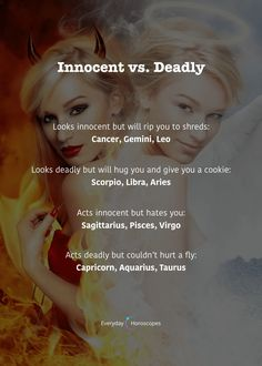 #dailyhoroscope #todayhoroscope #horoscope #zodiacsigns Are you innocent or deadly? More in your horoscope: