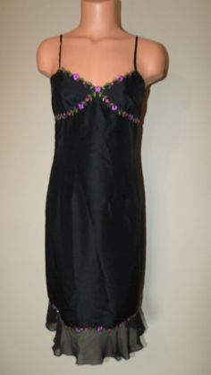 Ann Taylor Size 2 Black Silk w Floral Embroidered Flowers Slip Cocktail Dress LN #AnnTaylor #Sheath #Casual