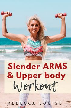 We will be targeting the triceps, biceps, chest, back and shoulders with this Slender ARMS & Upper body TONE UP Workout! Upper Body Dumbbell Workout, Lower Belly Workout, Biceps Workout, Pilates Workout, Tone Up Workouts, Arm Workouts, Exercise Routines, Fitness Exercises, Workout Ideas