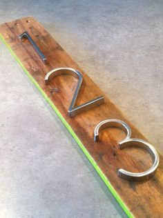 Modern Metal House Numbers on Reclaimed Wood CUSTOM Accent Color on Etsy, $35.00