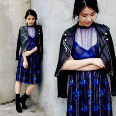 Zoe  S - Sheinside Leather Jacket - BLUE OCEAN FLOOR