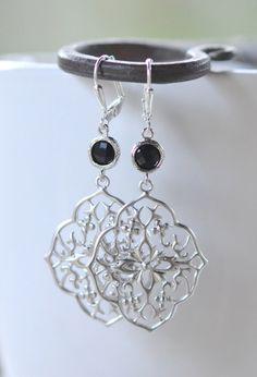 Big Black Jewel Dangle Earrings in Silver.
