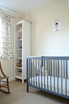 BB room, stone blue moKee Mini Cot, arranged by Rachel from threeyearsandonestonethenhome.com