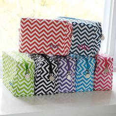 Personalized Monogram Chevron Makeup Bag (5 Colors) (Cathys Concepts 2091A) | Buy at Wedding Favors Unlimited (http://www.weddingfavorsunlimited.com/chevron_spa_bag.html).