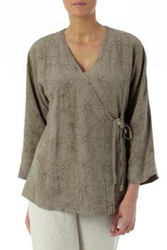 Tops   Dragonfly Print Linen Wrap Top at Sahara